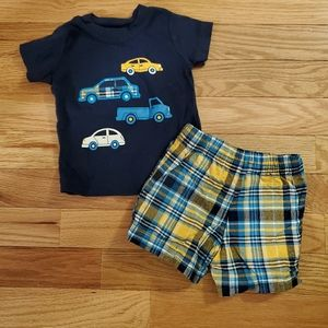 Carter's Cars Tee and Plaid Shorts